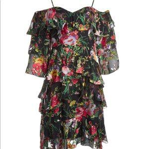 Alice & Olivia Cold Shoulder Ruffle Dress